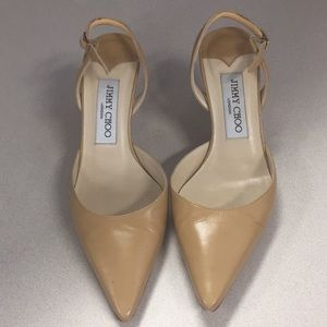 Jimmy Choo tan slingback pumps